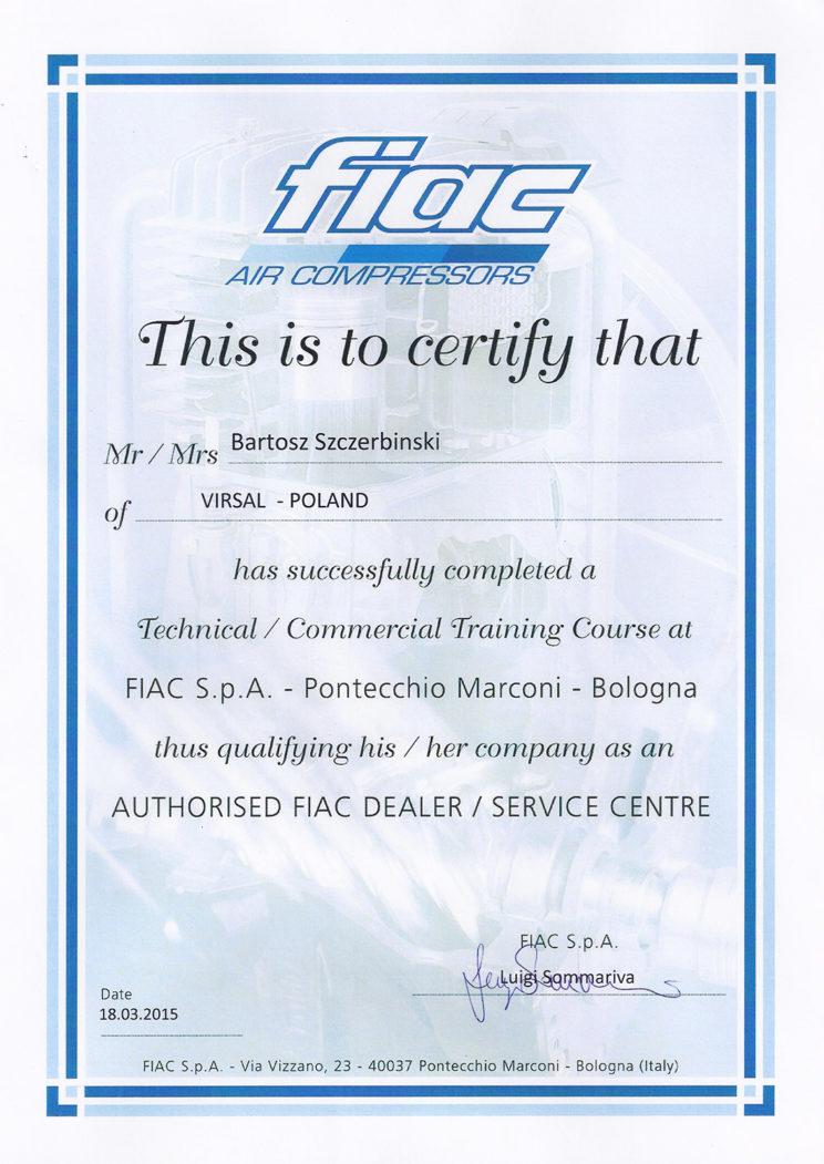 Serwis kompresorów - Certyfikat FIAC